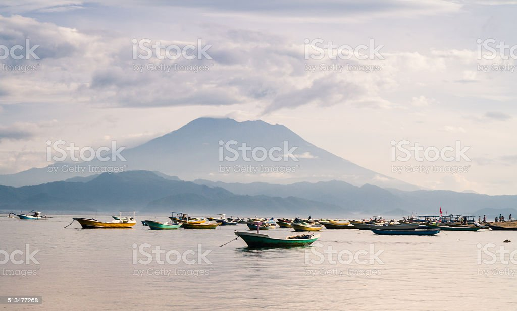 Agung Seen from Lembongan 2 stock photo
