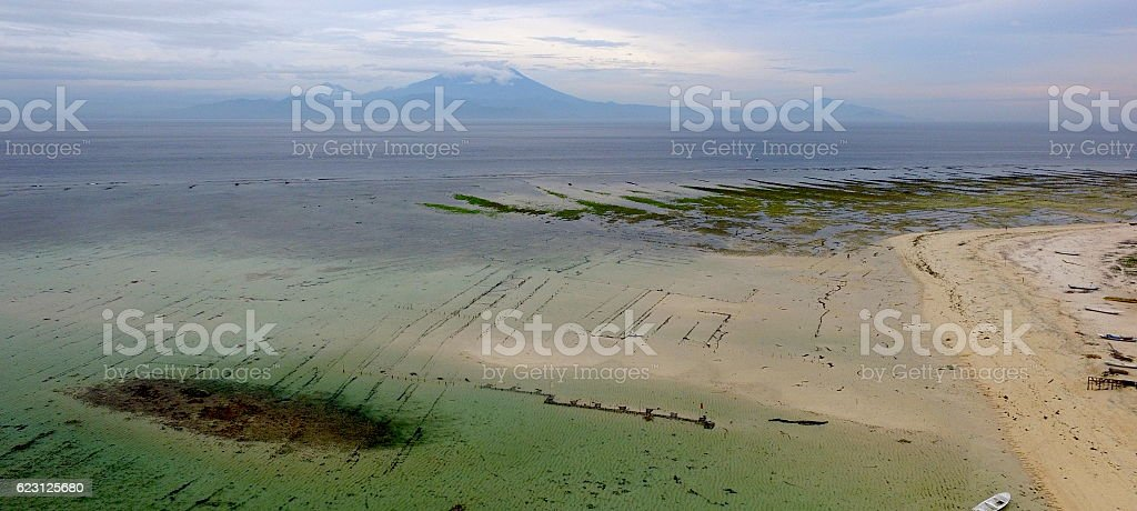 Agung Volcano & Seaweed farms in Bali, Indonesia stock photo