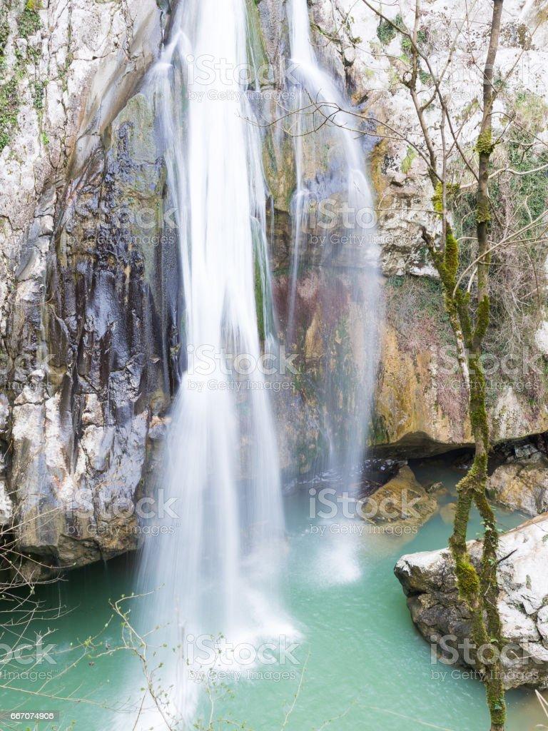 Agur spring waterfall in Sochi stock photo