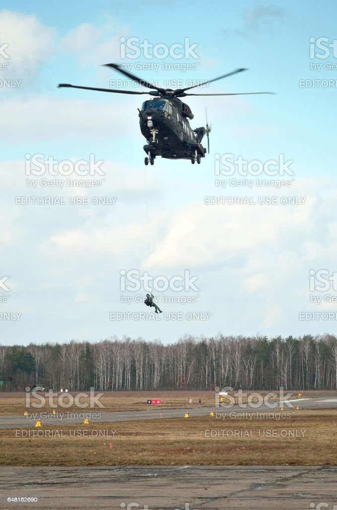 Agusta Westland AW101 during demonstration for Polish Army stock photo
