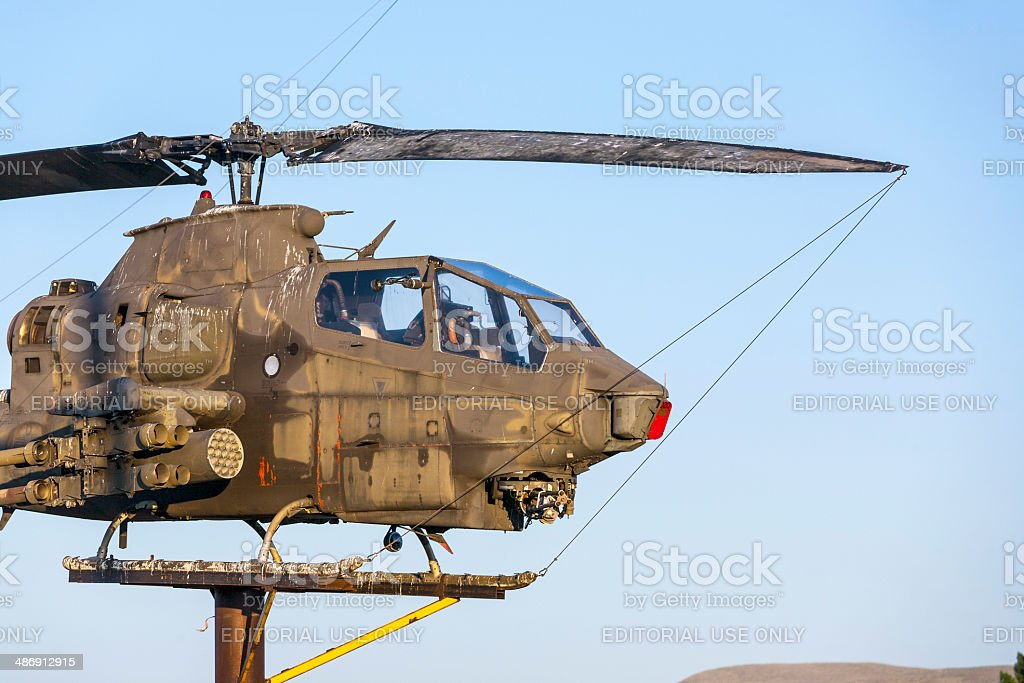 AH-1Cobra Helicopter  at Veterans Memorial in Susanville stock photo