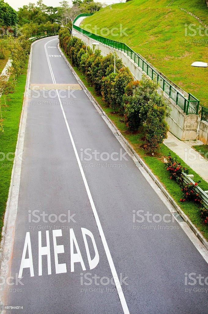 Ahead on road stock photo