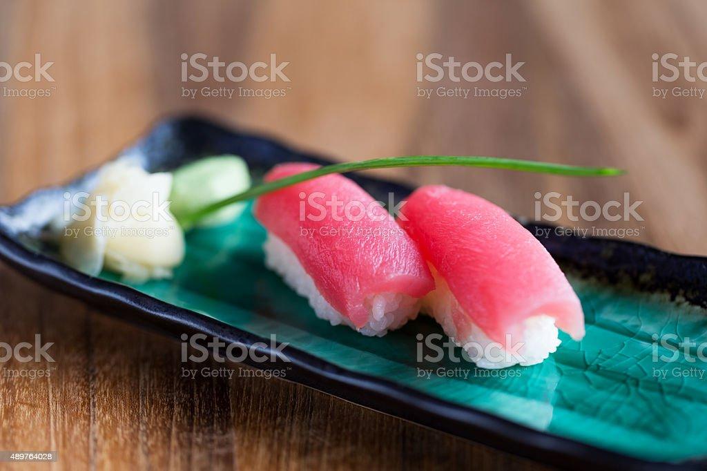 Ahi  (tuna) nigiri sushi stock photo