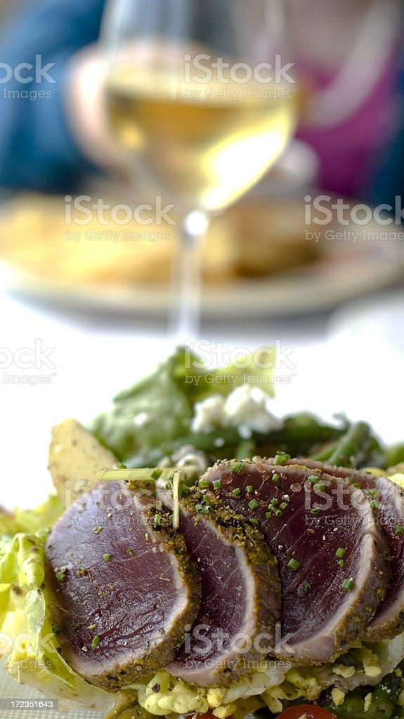 Ahi Tuna, Asian Fusion Sashimi Seafood Salad, Healthy Restaurant Food royalty-free stock photo