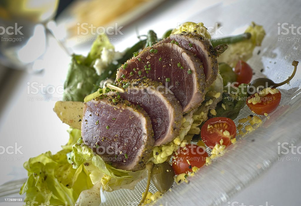 Ahi Tuna, Asian Fusion Sashimi Seafood Salad, Healthy Restaurant Food royalty-free stock photo