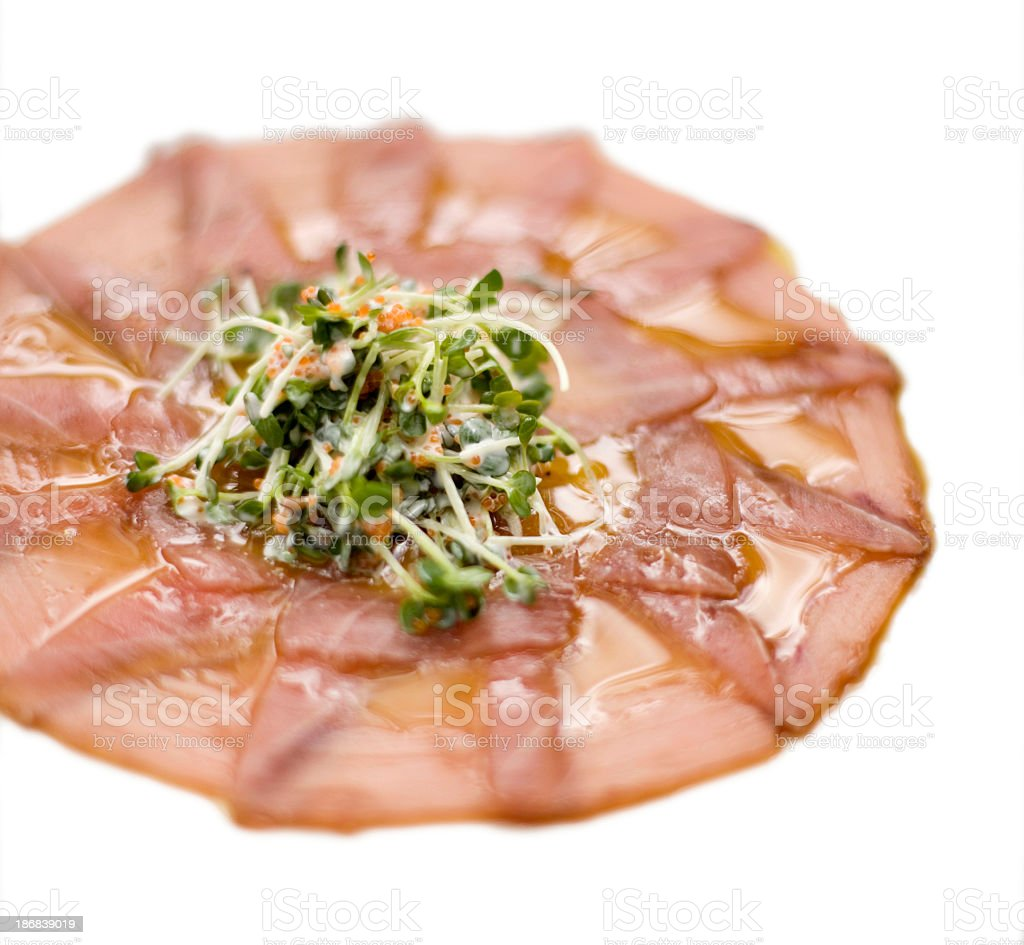 ahi tuna carpaccio isolated on white royalty-free stock photo