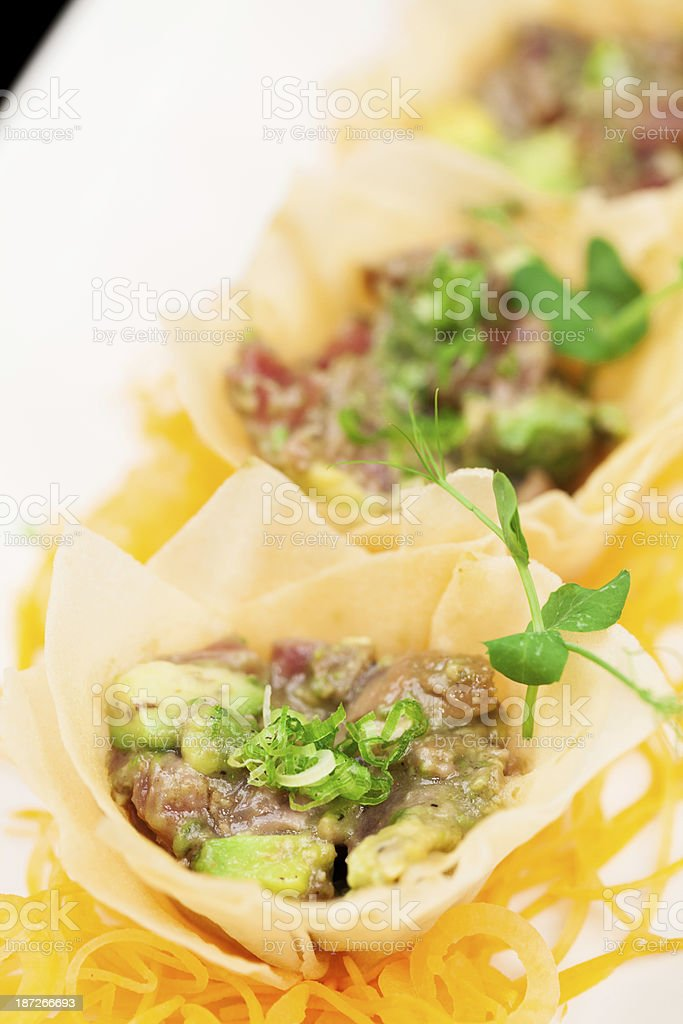 Ahi Tuna Ceviche in cups royalty-free stock photo