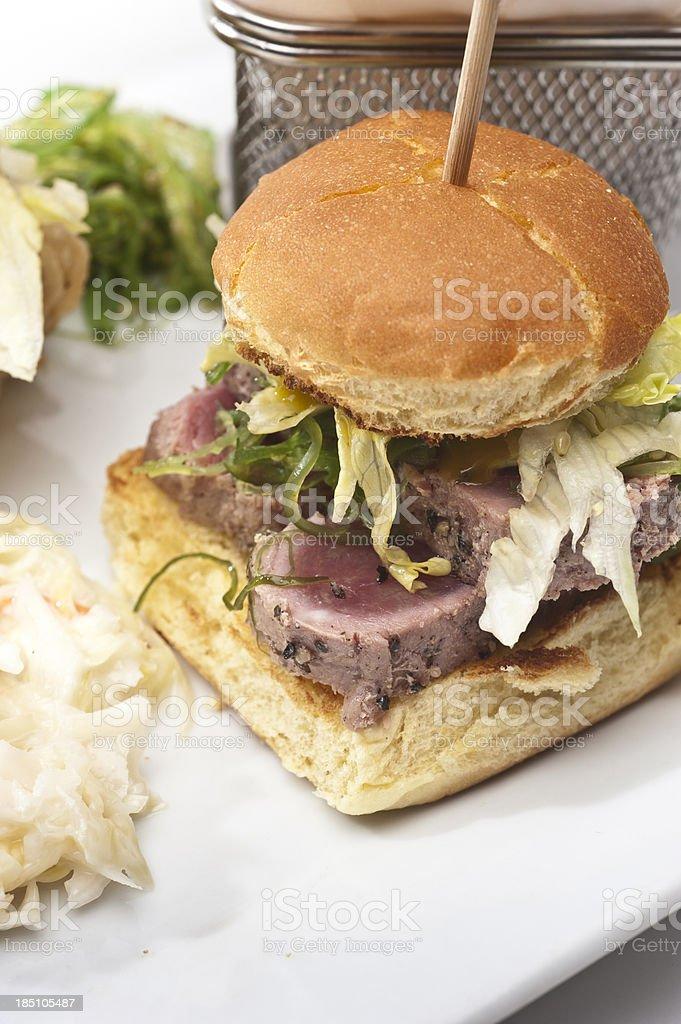 Ahi Tuna mini burger stock photo