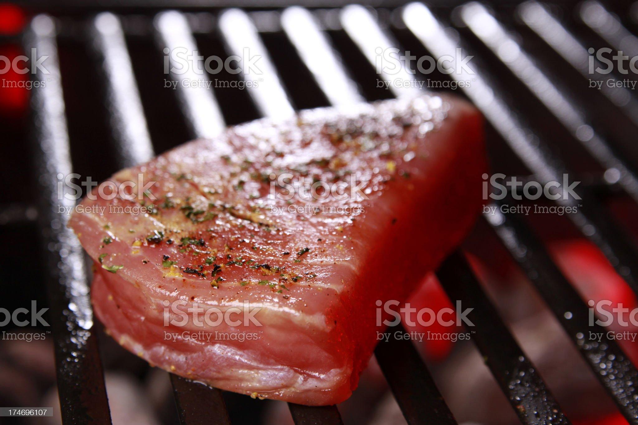 Ahi Tuna on Barbecue royalty-free stock photo