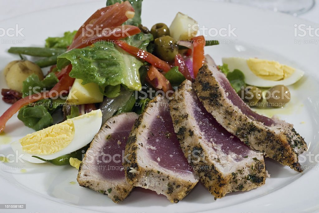Ahi tuna salad royalty-free stock photo