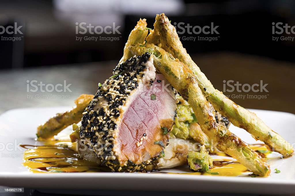 Ahi Tuna Seared Gourmet Entree royalty-free stock photo