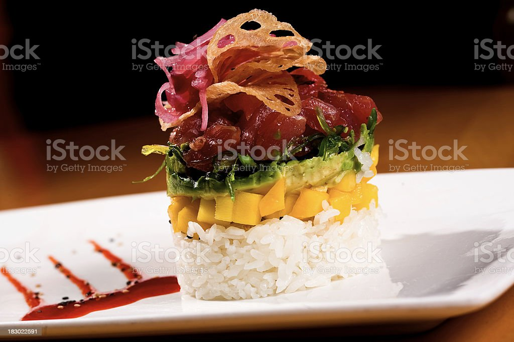 Ahi Tuna Stack royalty-free stock photo