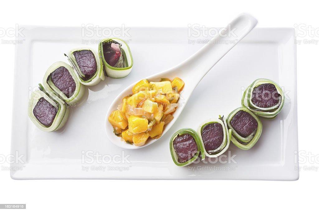 Ahi Tuna Sushi with Mango royalty-free stock photo