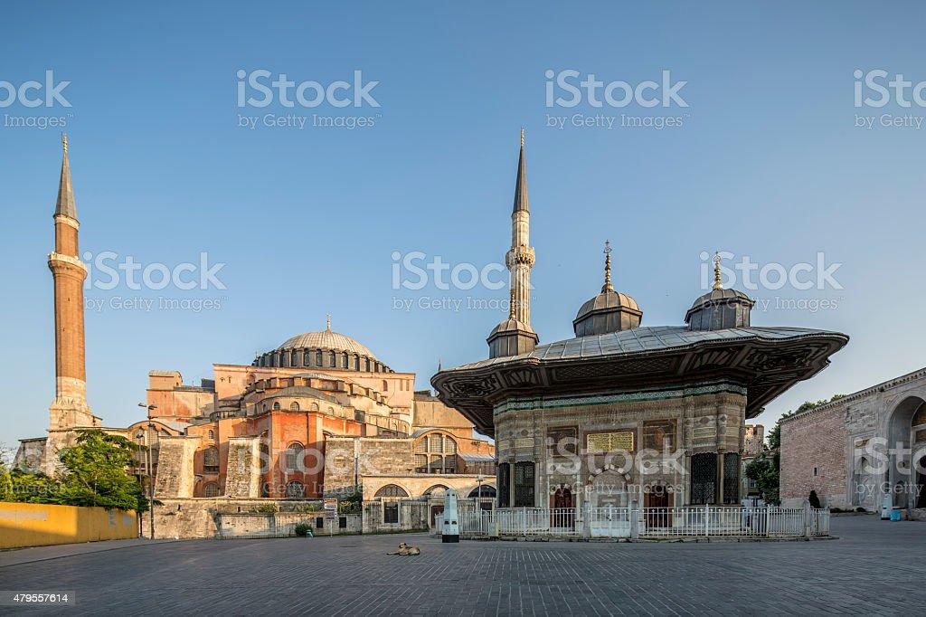 III. Ahmet Fountain and Haghia Sophia Museum in Fatihi Istanbul stock photo