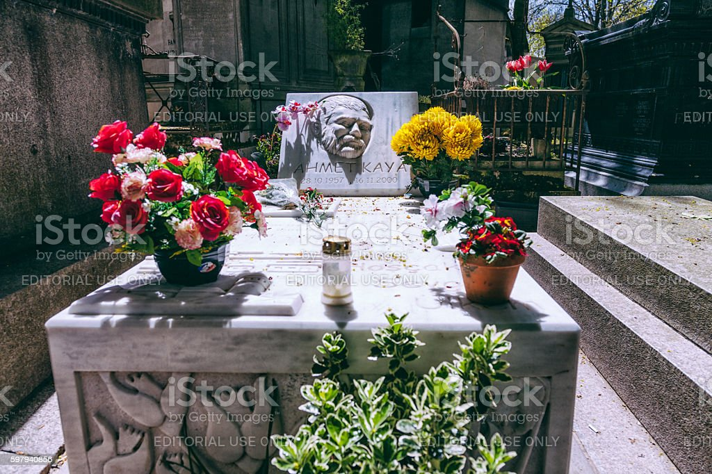 Ahmet Kaya's grave in Paris stock photo