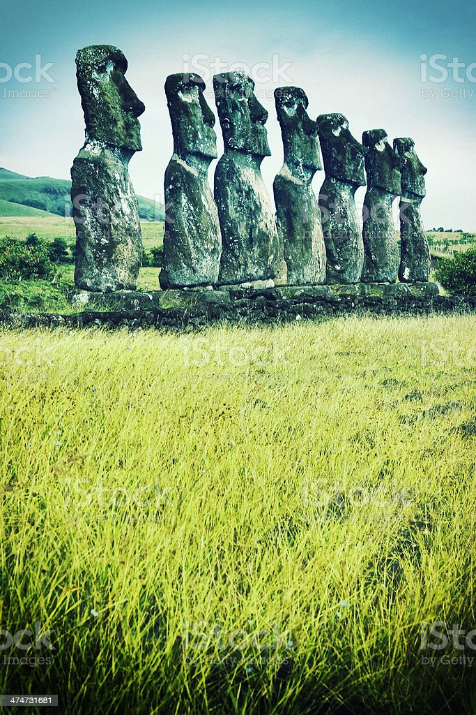 Ahu Akivi - Easter Island royalty-free stock photo
