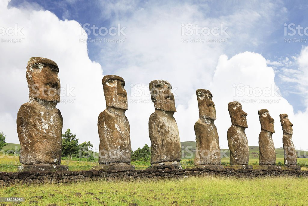 Ahu Akivi - Easter Island stock photo