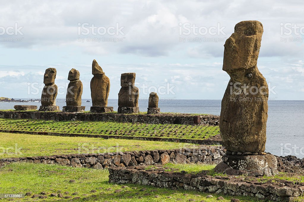 Ahu Tahai and Vai Ure - Easter Island stock photo