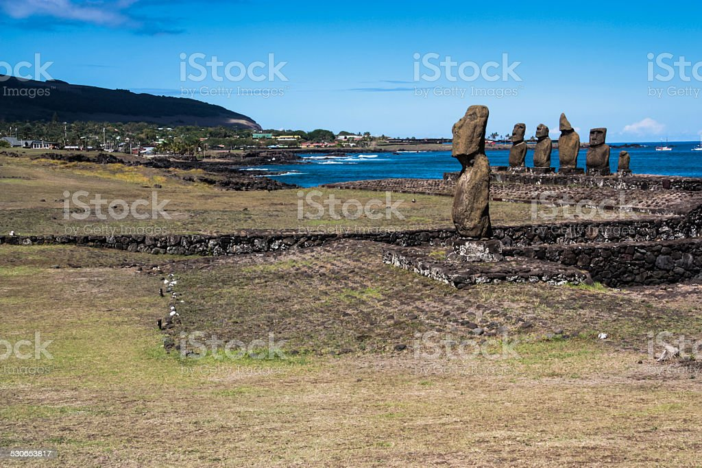 Ahu Tahai Moai stock photo