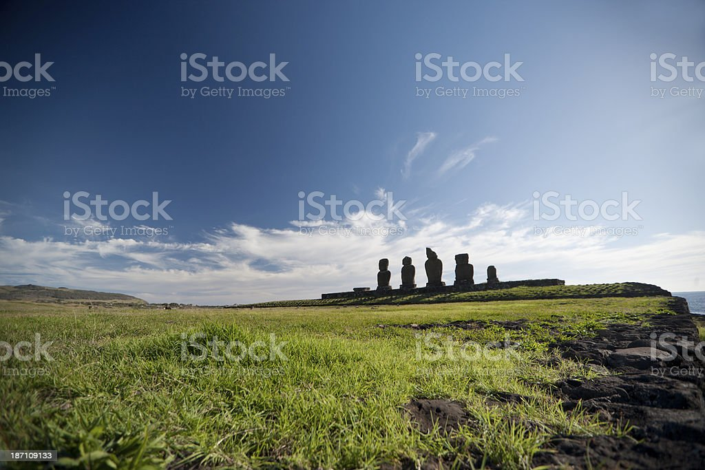 Ahu Tahai Panoramic royalty-free stock photo