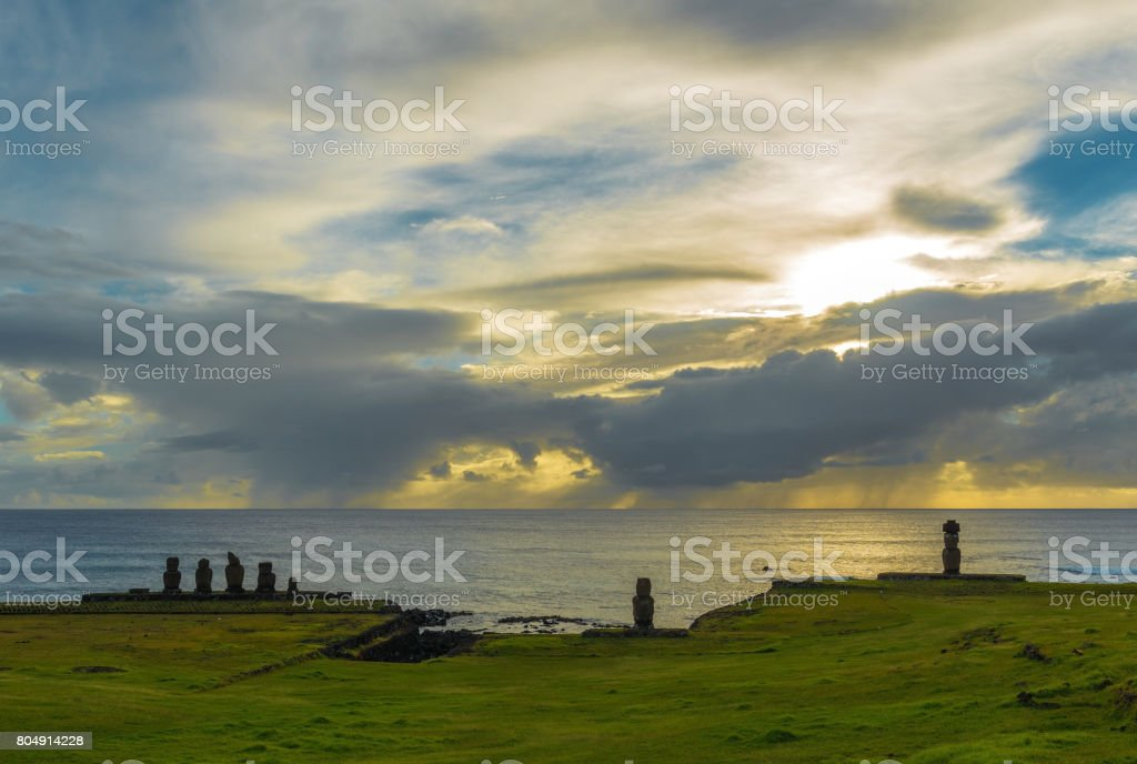 Ahu Tahai Sunset stock photo