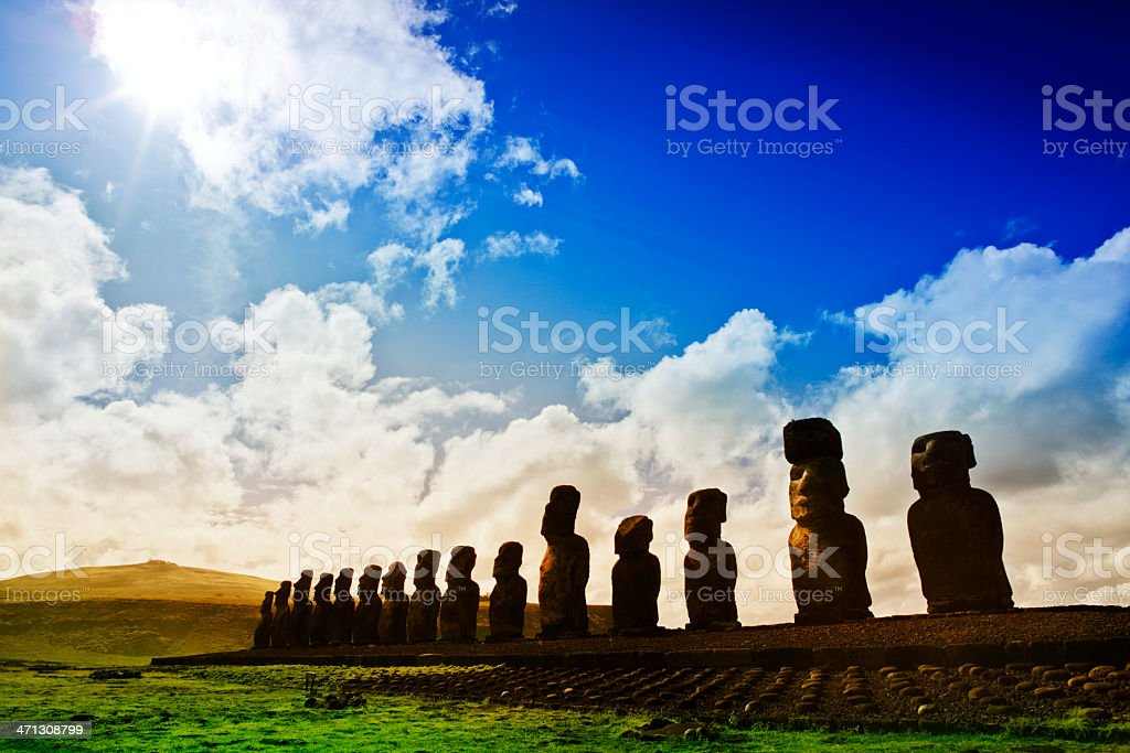 Ahu Tongariki - Easter Island stock photo