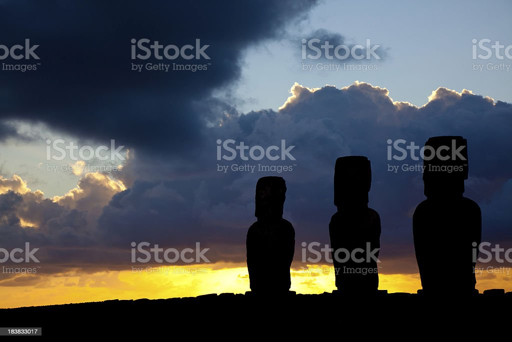 Ahu Tongariki Moais at Sunrise on Easter Island, Chile stock photo