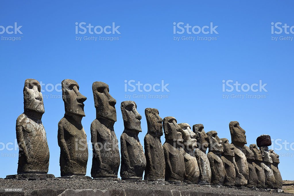 Ahu Tongariki Moais on Easter Island stock photo