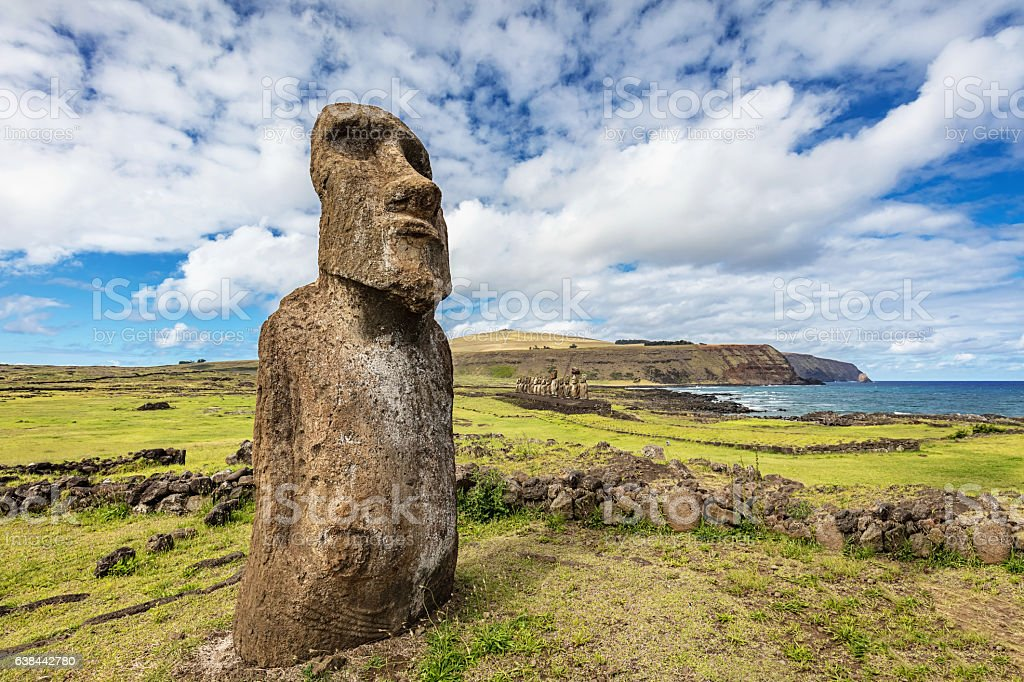 Ahu Tongariki Travelling Moai Easter Island Statue Rapa Nui stock photo