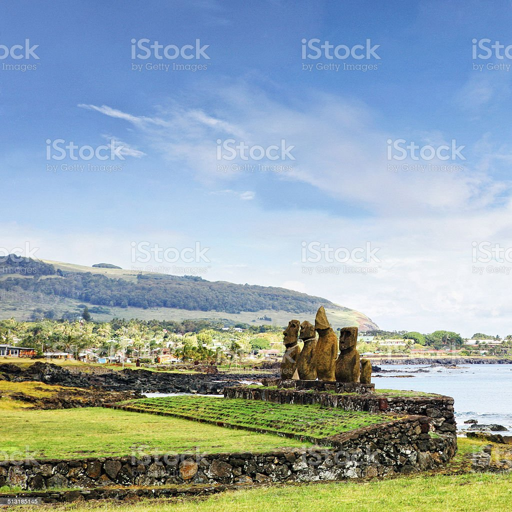 Ahu Vai Ure and Hanga Roa Cityscape - Easter Island stock photo