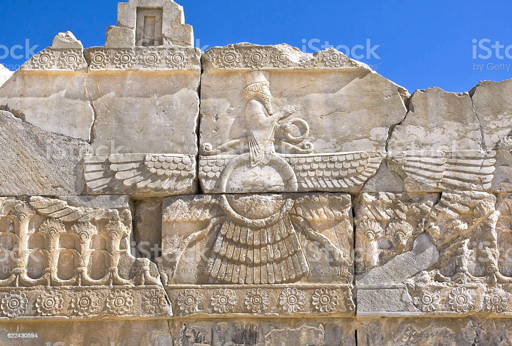 Ahura Mazda - relief of ruined Persepolis stock photo