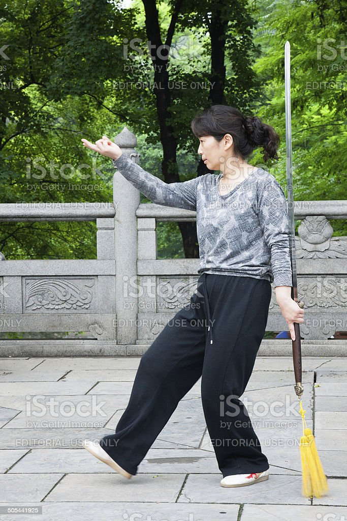 T'ai chi ch'uan in Xianqing Park stock photo