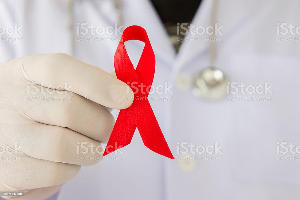 aids ribbon stock photo