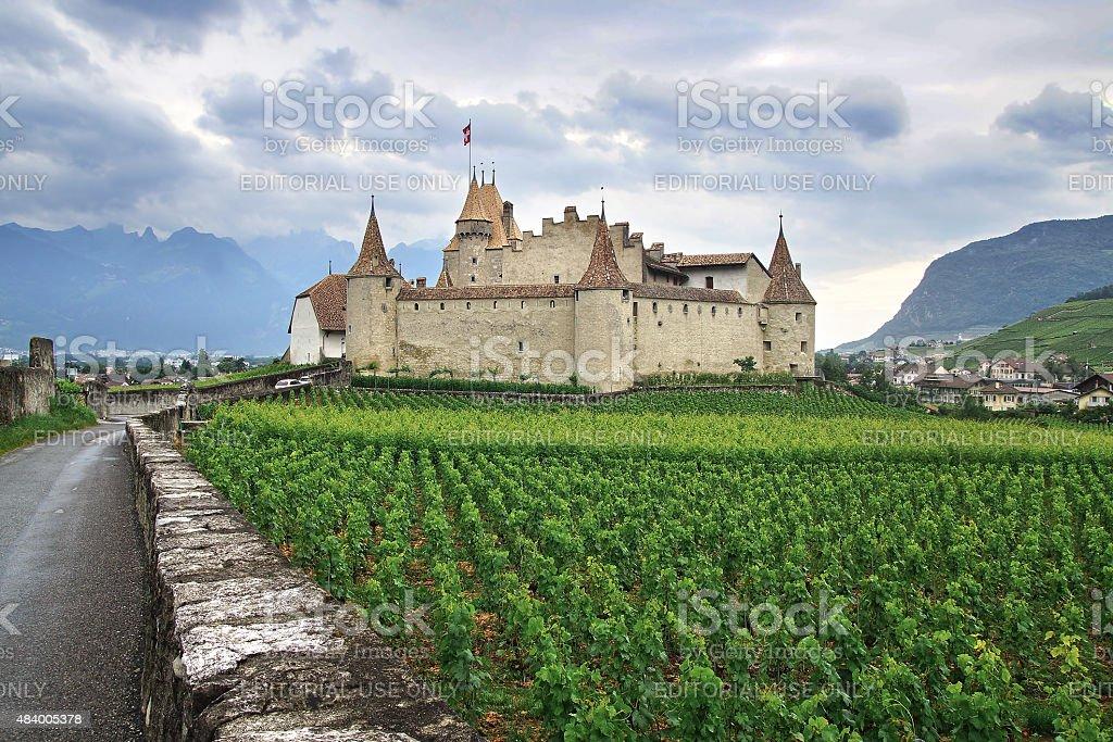 Aigle Castle. Switzerland stock photo