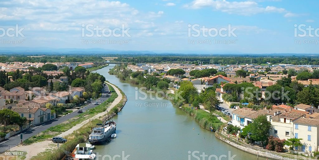 Aigues-Mortes and the Rhône canal stock photo