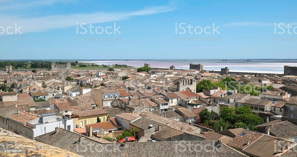 Aigues-Mortes and the Salt evaporation pond stock photo