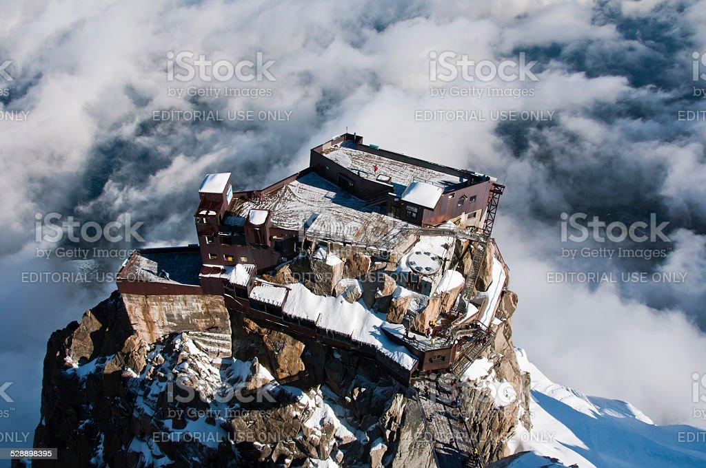 Aiguille di Midi cable car station Alps Mont Blanc France stock photo