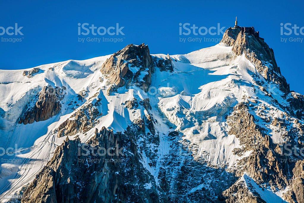 Aiguille du Midi, 3 842 m height, French Alps, Chamonix stock photo