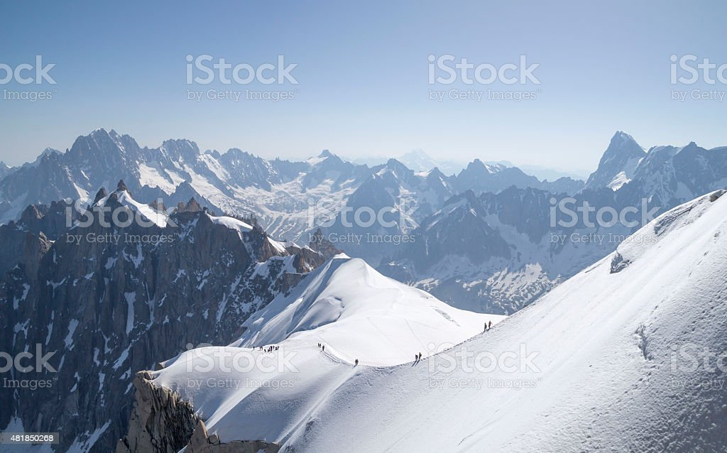 Aiguille du Midi - 3,842 m, French Alps stock photo