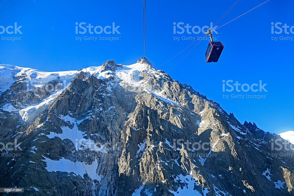 Aiguille du Midi and funicular in French Alps stock photo