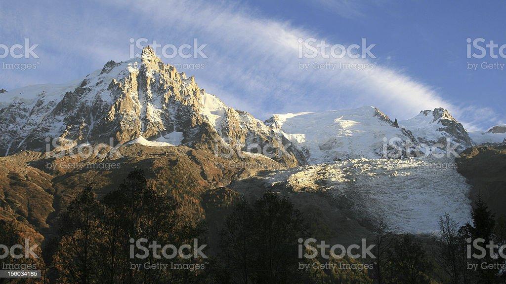 Aiguille du Midi and glacier of Bossons stock photo