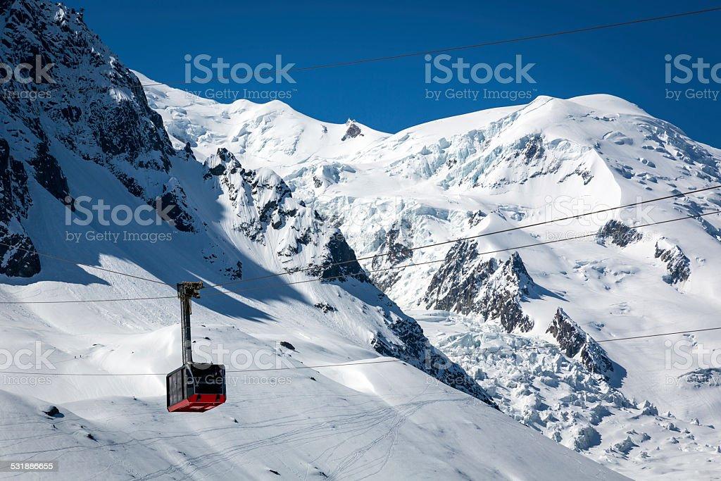 Aiguille du midi cable car, Chamonix, France stock photo