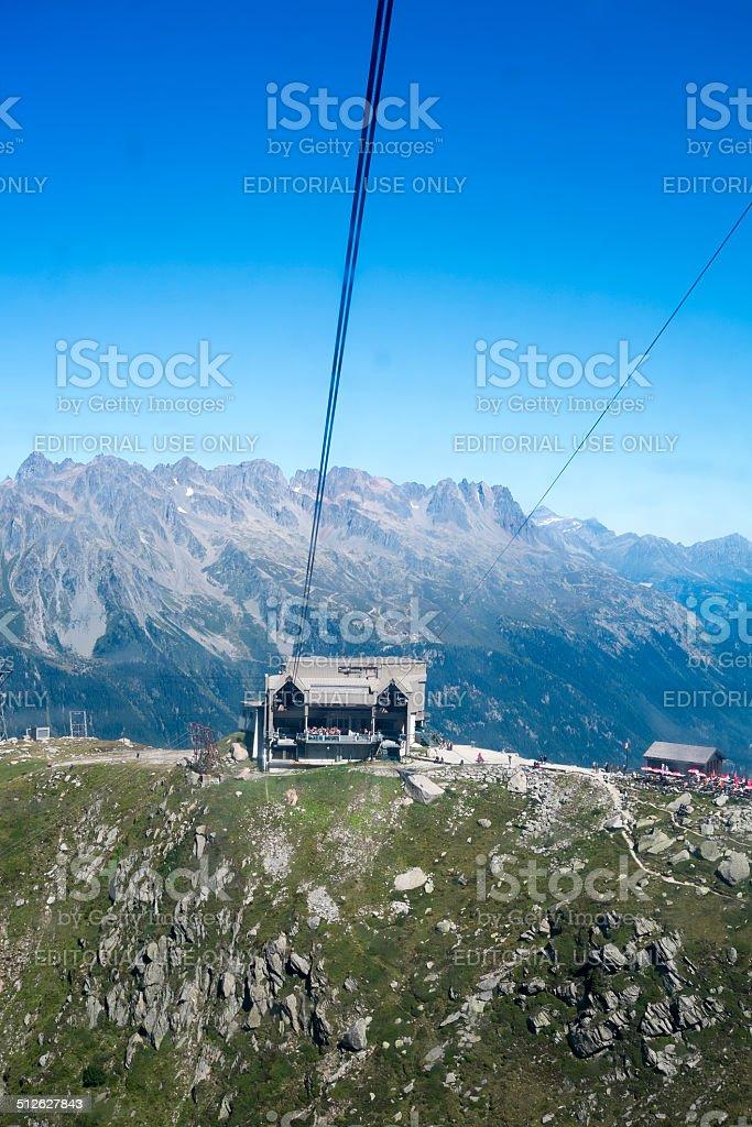 Aiguille du Midi cable car stock photo