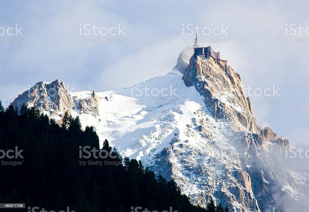 Aiguille du midi from Chamonix stock photo