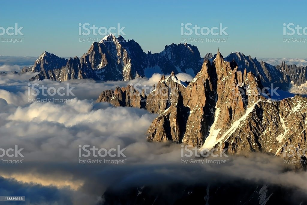 Aiguille du Midi, Mont Blanc - Chamonix Mountain stock photo