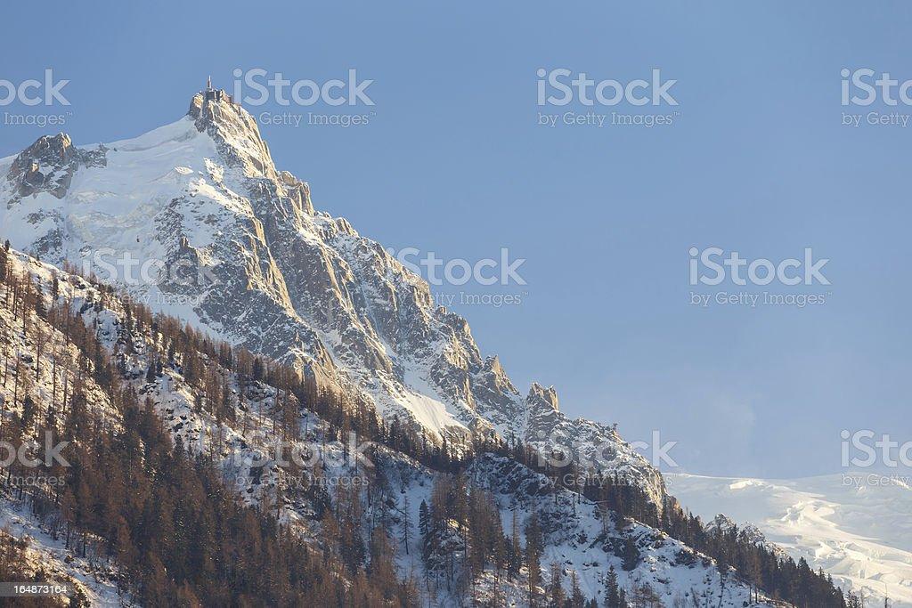 Aiguille du Midi mountain peak in Chamonix stock photo