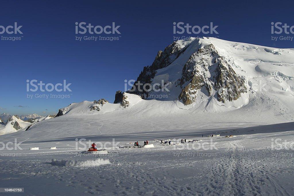 Aiguille du Midi tent camp royalty-free stock photo