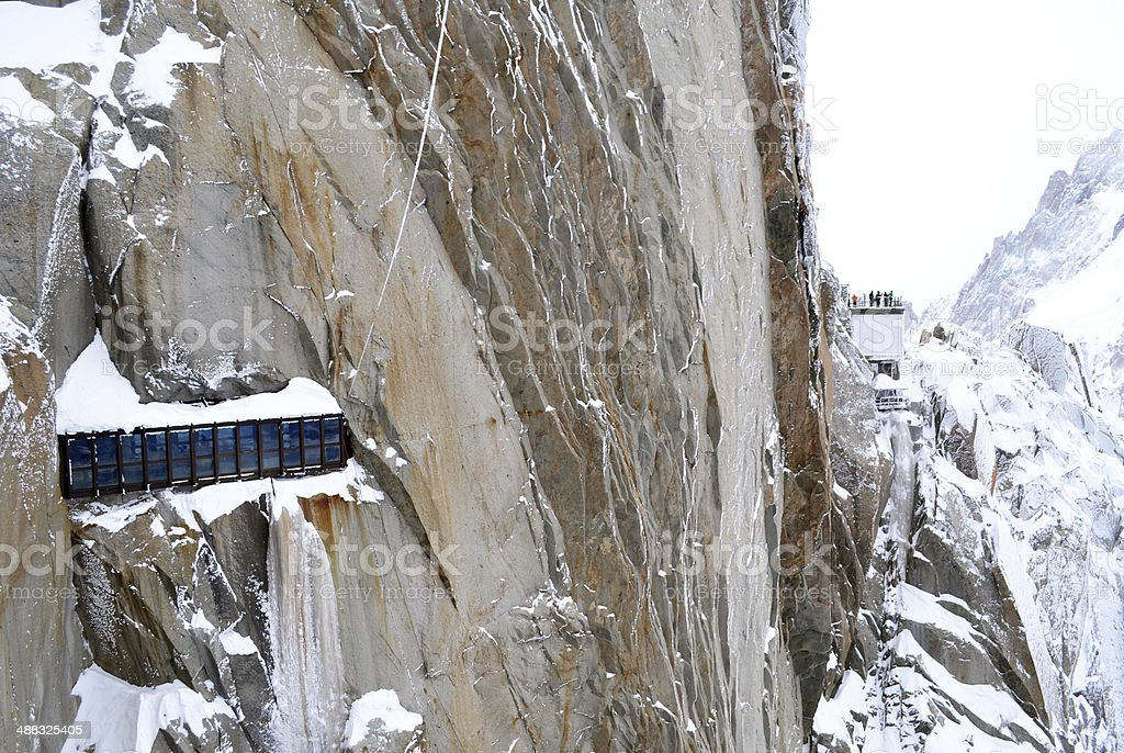 Aiguille du Midi, the highest peak in Europe, Chamonix, France stock photo