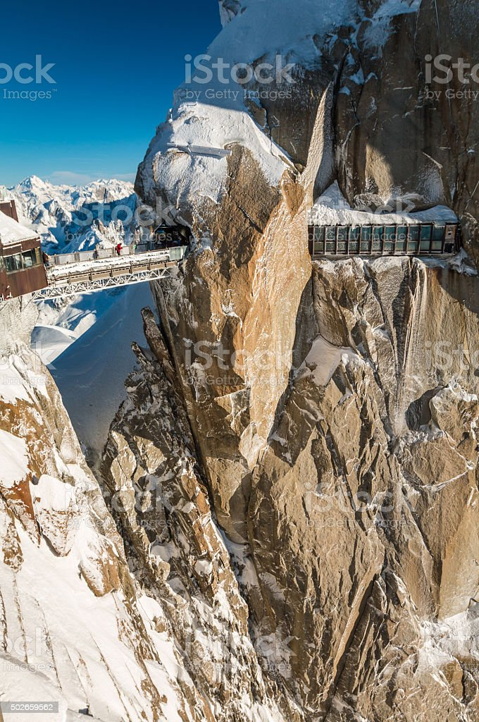 Aiguille du Midi  viewpoint stock photo