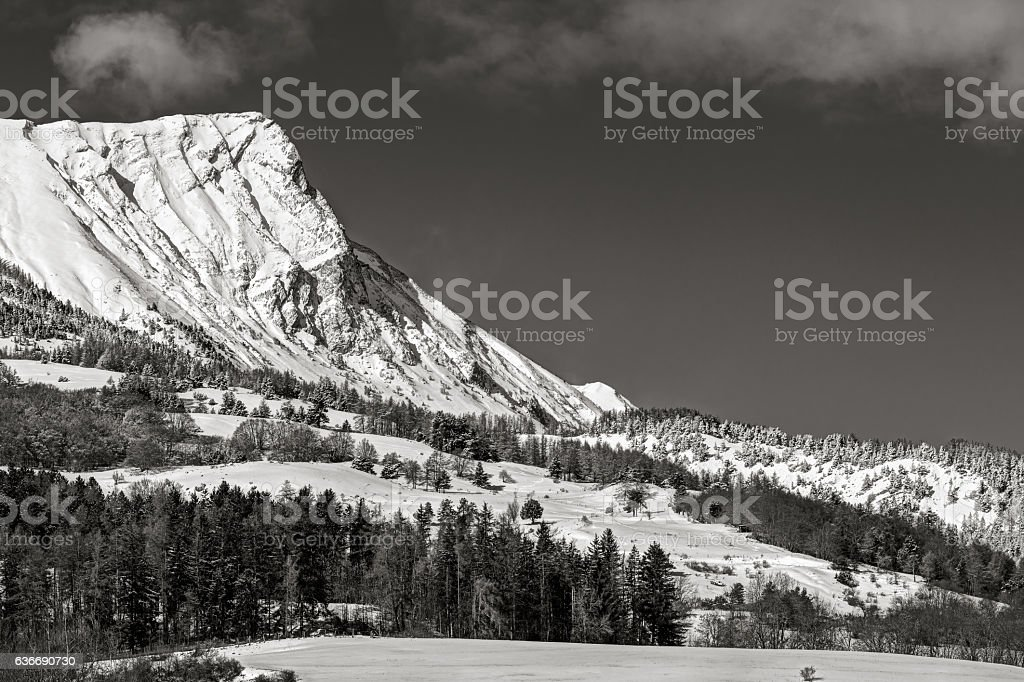 Aiguille Peak covered in snow, Hautes Alpes, Alps, France stock photo